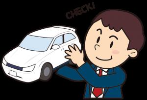 自動車をチェックする男性