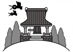 お寺の鐘の上を跳ぶカラス