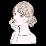 まとめ髪手を唇におく女性